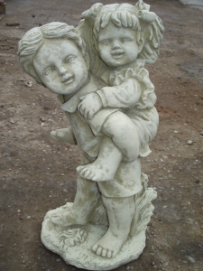 Boy and Girl Piggy Back Stone Statue