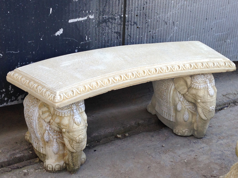 Elephant Design Stone Garden Bench With Straight Top