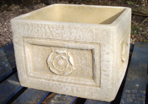 English Rose Large Square Stone Planter