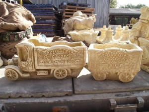 Old Fashioned Flower Shop Stone Truck & Trailer Planter