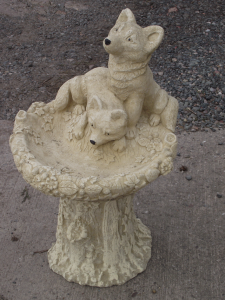 Stone Fox Bird Bath