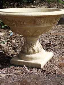 Stone Grape Urn with Wide Bowl