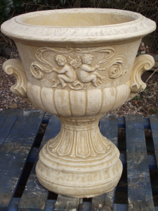 Large Stone Urn Cherub Design