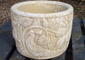 Large Stone Tub Planter with Woodland Stag & Pheasant Design
