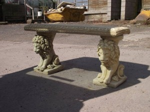 Large Stone Bench Lion Design