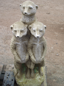 Large Stone Meerkat Family Statue