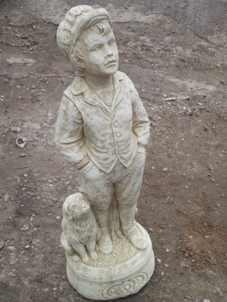 Stone Garden Ornament - One Boy and his Dog