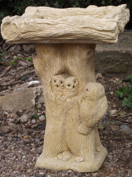 Large Owl Stone Bird Bath with Square Top