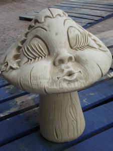 Stone Girl Mushroom Statue - Party Girl Mushroom