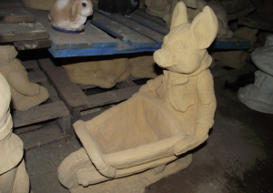 Large Stone Pig with Barrow Planter