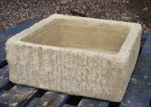 Square Stone Planter Rustic Design