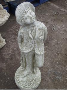Stone Whistling Boy Garden Statue