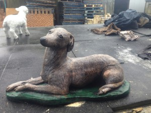 Stone Greyhound / Whippet Dog Statue