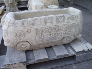 Stone VW Camper Van Planter Flower Power