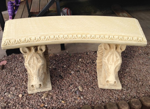 Stone Horse Bench with Curved Top